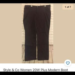 Style & Co women 20W burgundy maroon boot jeans
